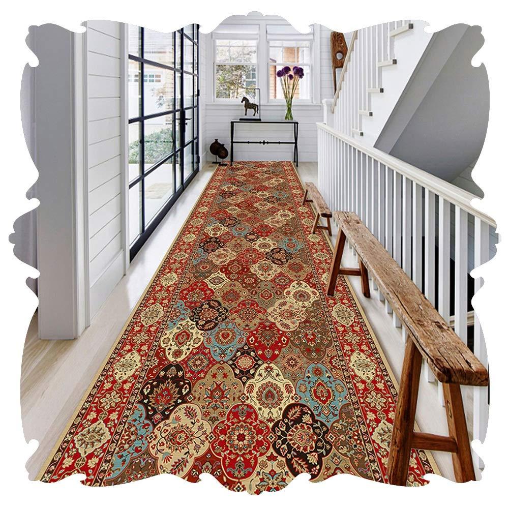 YANGJUN 廊下敷きカーペット ラグ ランナー 洗える イージーケア 柔らかい 滑り止め 印刷 ボヘミアンスタイル カッタブル カスタマイズ可能 (Color : A, Size : 1.2x3.5m) B07SHP4FXK A 1.2x3.5m