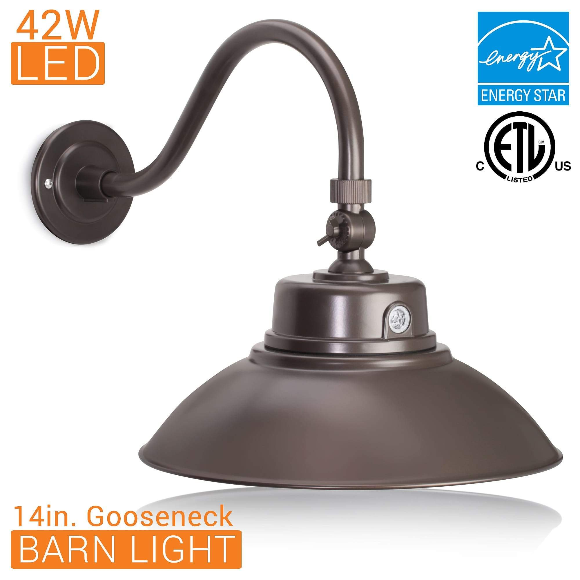 14in. Bronze Gooseneck Barn Light LED Fixture for Indoor/Outdoor Use - Photocell Included - Swivel Head - 42W - 3800lm - Energy Star Rated - ETL Listed - Sign Lighting - 3000K (Warm White) by HTM Lighting Solutions