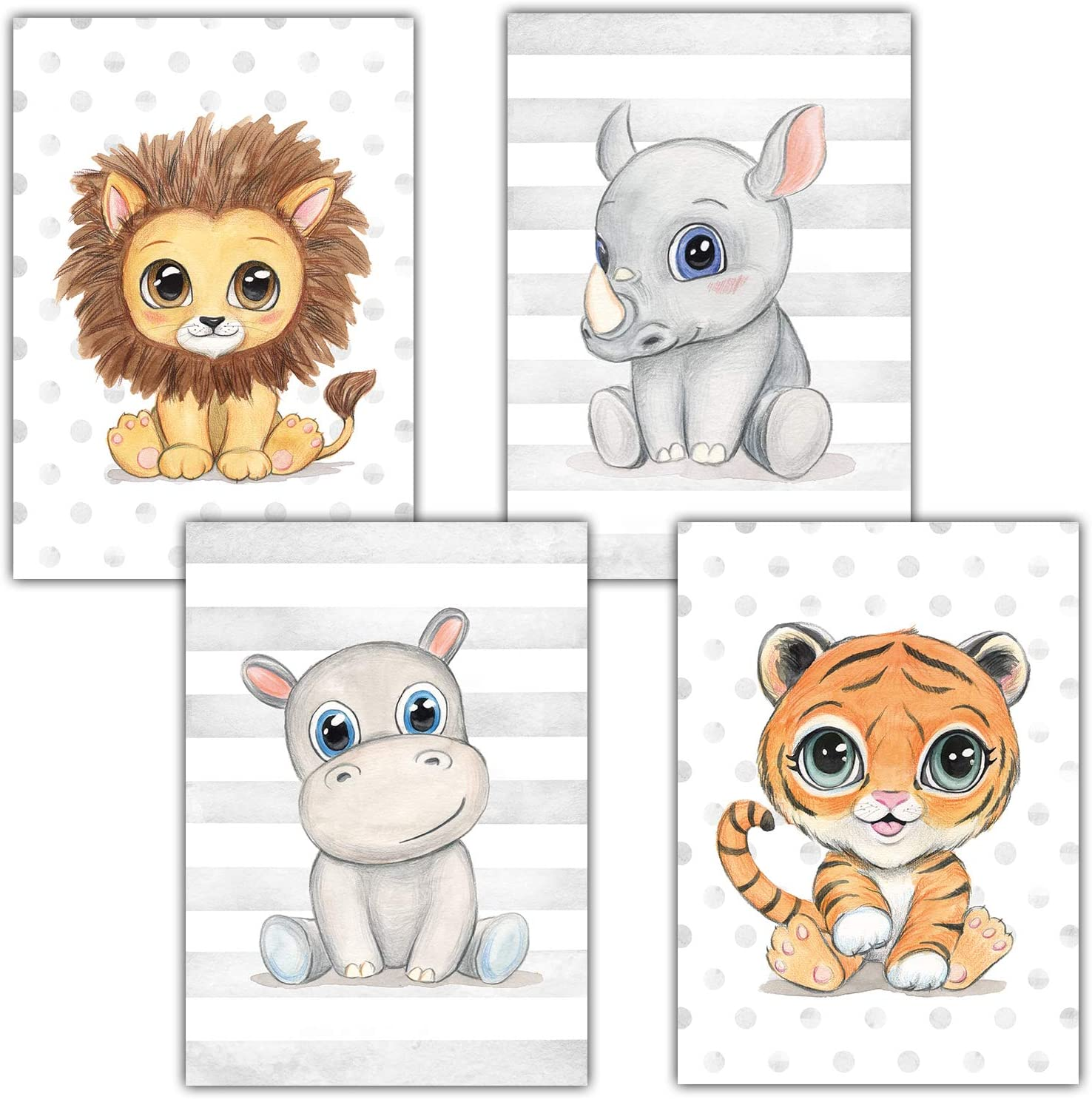 Frechdax® - Juego de 4 pósteres decorativos para habitación infantil, tamaño DIN A4, diseño de animales del bosque, África, Juego de 4 león, cuerno nasal, hipopótamo, tigre., DIN A4