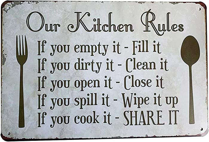 Grace Home Kitchen Rules Plaque Wall Decor Rustic Metal Tin Sign Posters Kitchen Rules Tin Sign Wall Decor, Funny House Decor Retro Poster Metal Tin Sign, Iron Paint, Aluminum Sign 12X8-Inch