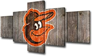Native American Canvas Wall Art Baltimore Orioles Logo Painting American League Team Professional Baseball Sports Wall Poster and Prints 5 Piece Artwork Home Decor Framed Ready to Hang(50Wx24H inches)