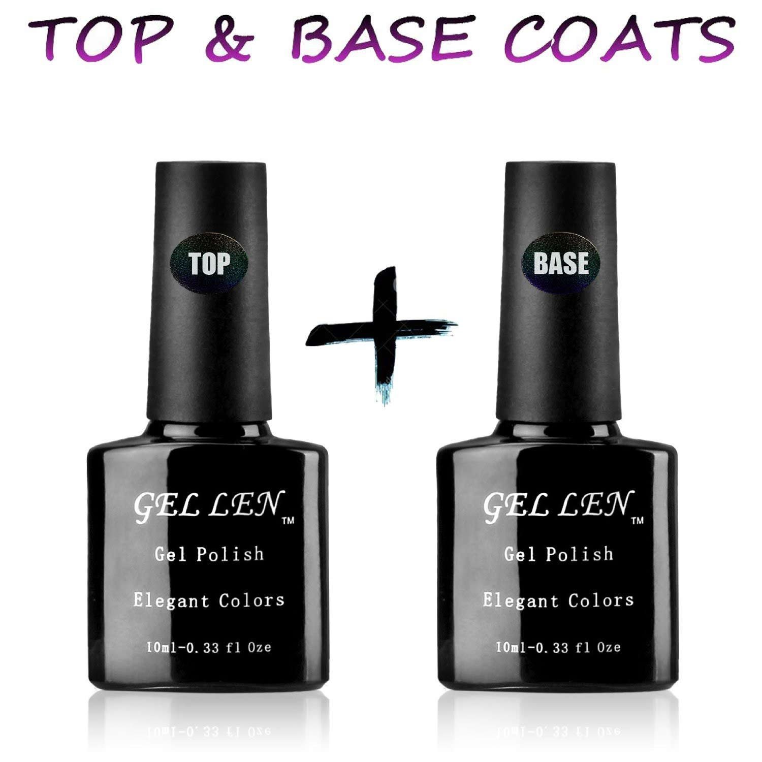 Gellen UV/LED Soak Off Gel Nail Polish Top Coat and Base Coat Set - 10ml Each