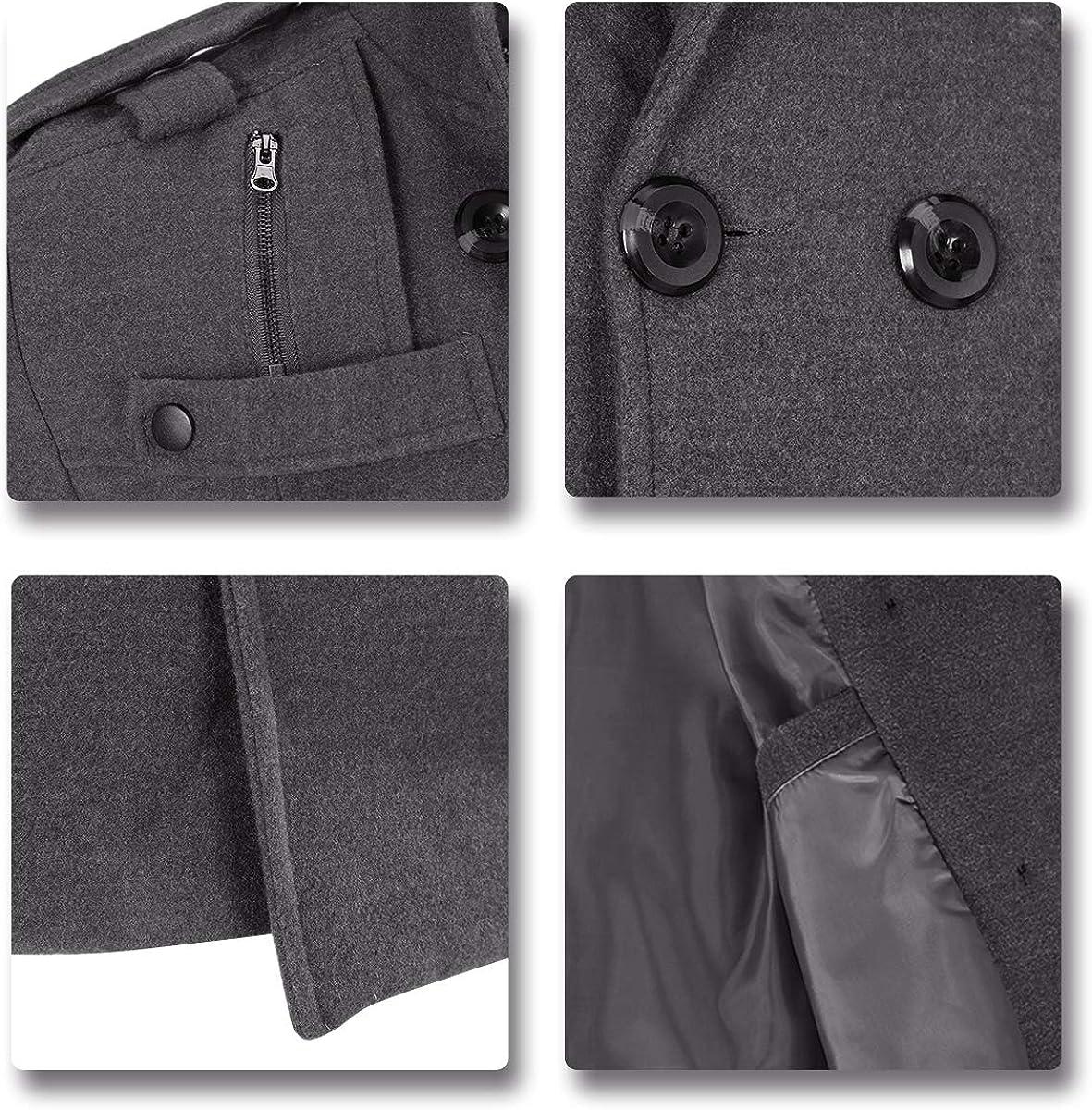 Grey XL AOWOFS Mens Coat Slim Fit Winter Coat Double Breasted Woolen Coat Short for Autumn Winter