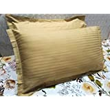 Trance Home Linen 100% Cotton 200TC Pillow Covers/Pillow case (18X28-inch, Beige)- Pack of 2