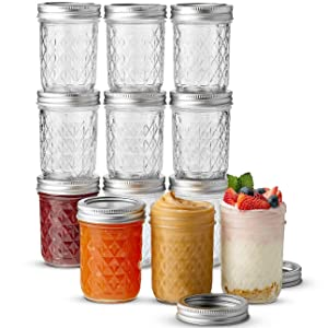 Ball Mason Jars 8 oz capacity Set of 12 Quilted Jelly Jars with lids and bands, For Canning - Freezing - Preserving - Beverages & Jar Decor - Microwave & Dishwasher Safe + SEWANTA Jar Opener (12 Pack)