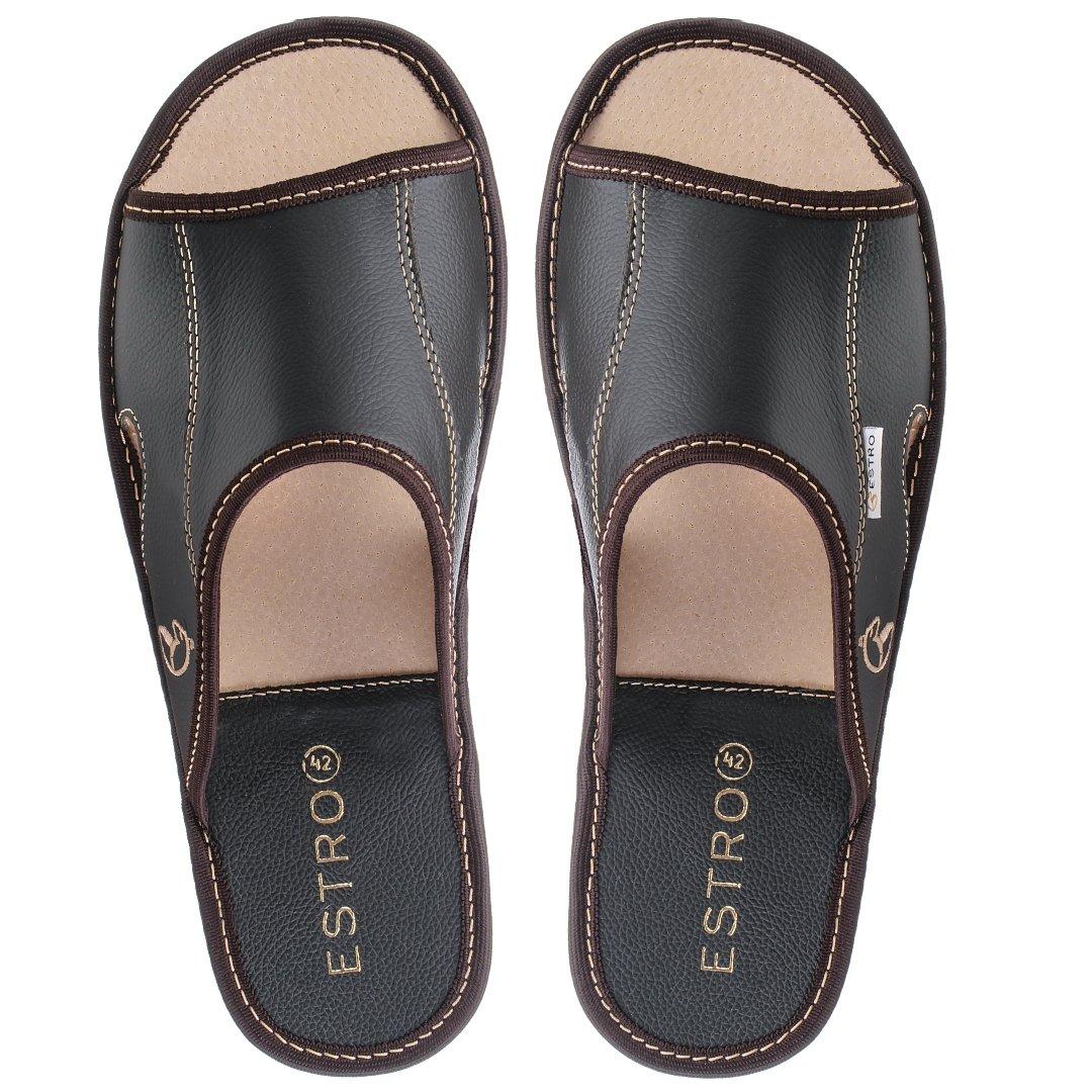 f2b552d5d4b98 ESTRO Pantofole Ciabatte Uomo Casa Pantofola Ciabatta Vera Pelle Suola di  Memoria Verano ingrandisci