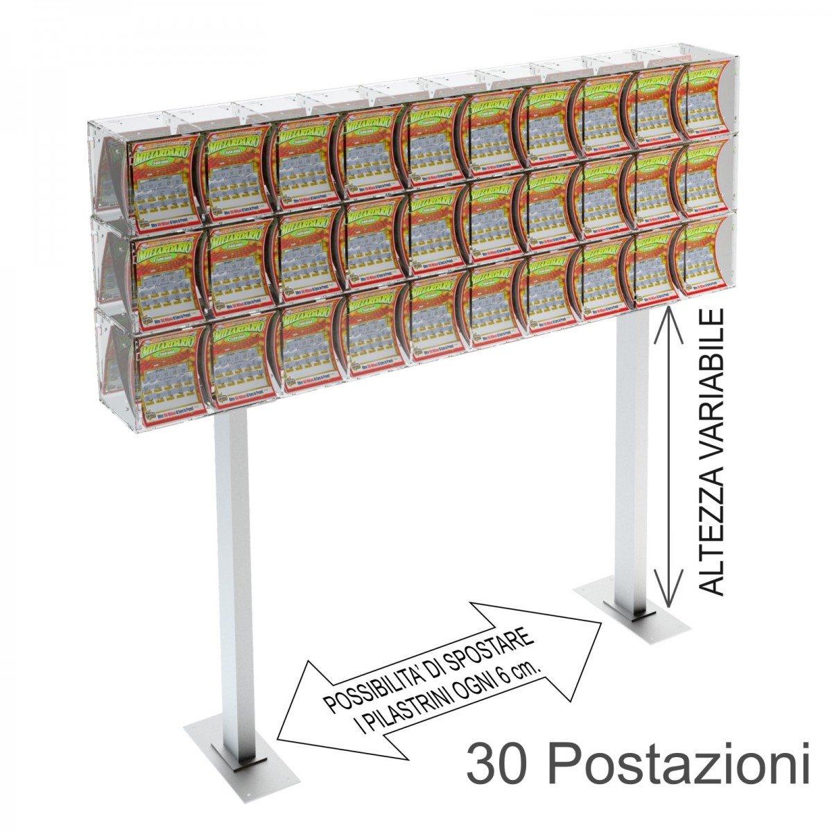 Espositore gratta e vinci da banco in plexiglass trasparente a 30 contenitori munito di sportellino frontale lato rivenditore