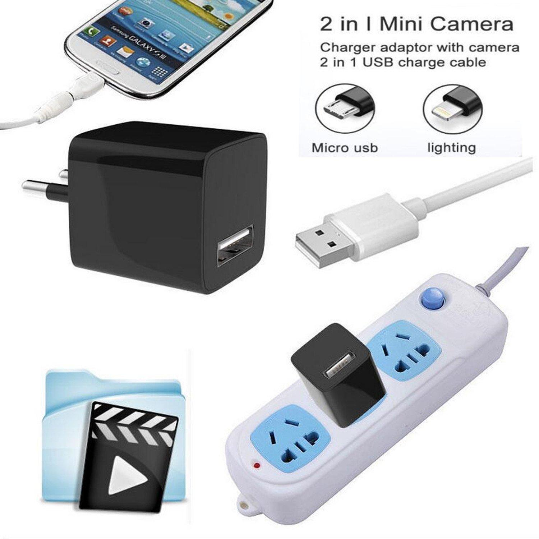 Cargador de pared USB SZZHCKJ HD 1080P mini cámara oculta espía adaptador de enchufe de CA niñera Cam cámara espía movimiento detetive grabación de bucle 32 ...