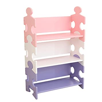KidKraft Puzzle Bookshelf Pastel Wood Multi Colour