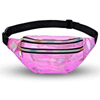 Holographic Fanny Packs for Women Cute Waist Packs Shiny Waist Bum Bag Waterproof for Travel Party Festival Running Hiking