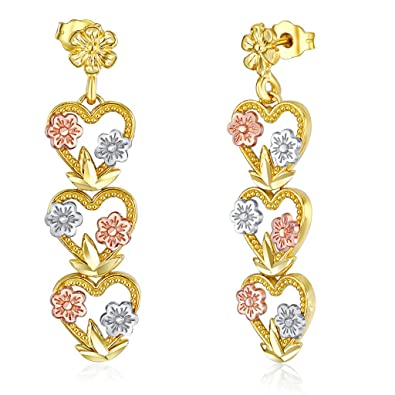 d22999a71 Image Unavailable. Image not available for. Color: Wellingsale Ladies 14k  Tri 3 Color Gold Polished Diamond Cut Fancy Heart & Flower Dangle Hanging