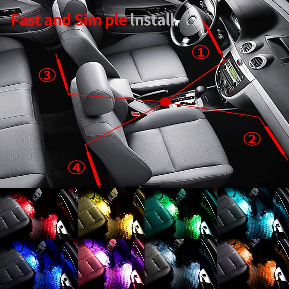 Car Charger Included Car LED Strip Light DC 12V Small Ant 4pcs 48 LED Multi-color Car Interior Lights Under Dash Lighting Waterproof Kit with Sound Active Function and Wireless Remote Control
