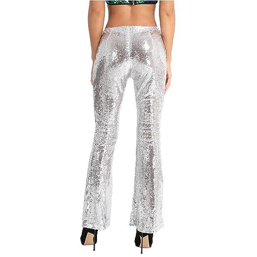 IEFIEL Femme Pantalon de Danse Soirée Taille Haute Paillettes Pantalon  Palazzo Evasé Sequins Pantalon Sport Yoga Fitness S-XL  Amazon.fr  Vêtements  et ... 81484ea7953c