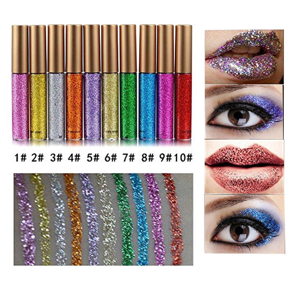 10 Pcs Glitter Liquid Eyeliner Metallic Shimmer Glitter Eyeshadow Pigment Waterproof Makeup Eyeliner