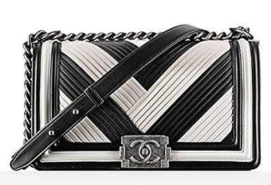 11107aefc876 Chanel Paris In Rome Black   White Pleated Medium Boy Bag  Amazon.co ...