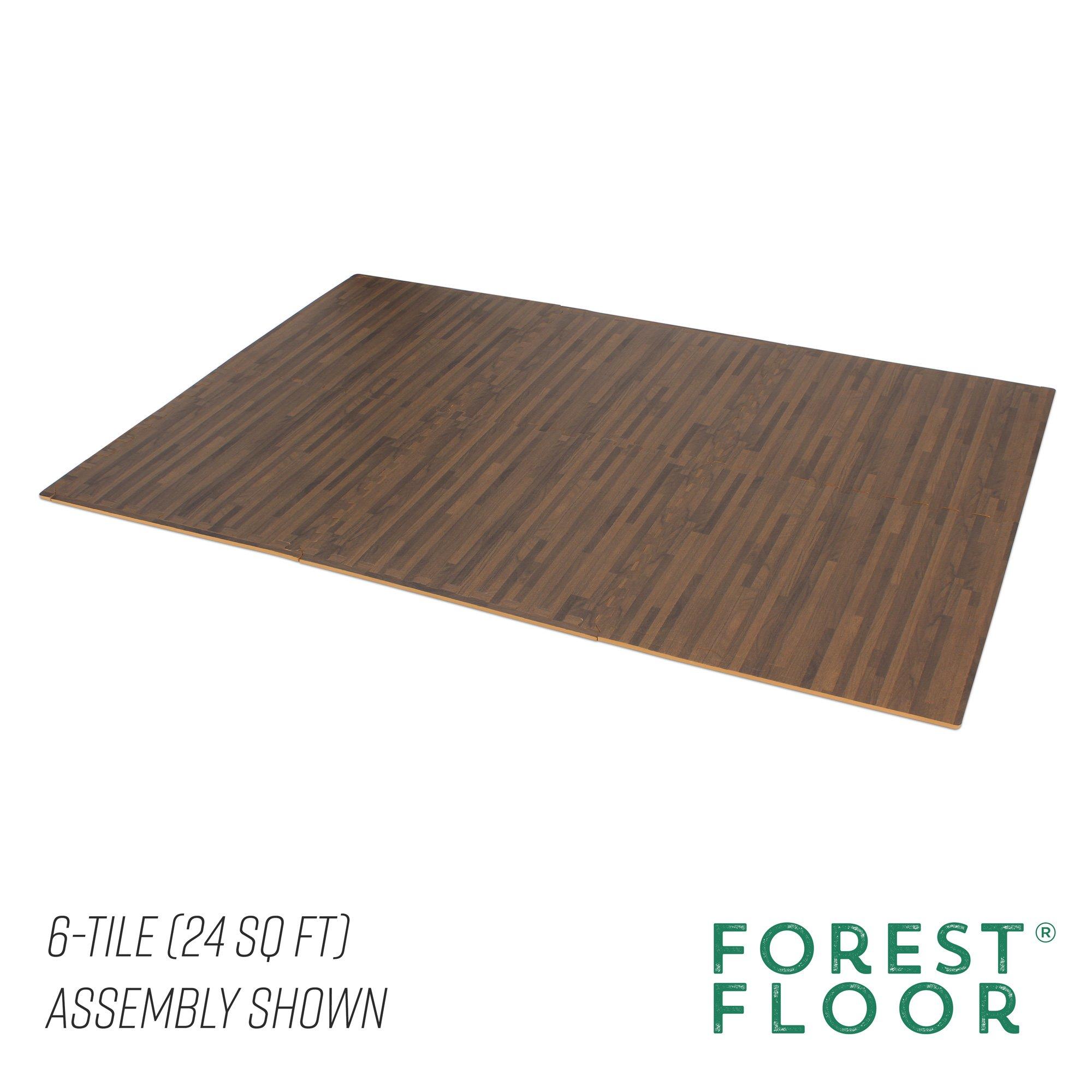 Forest Floor 3/8'' Thick Printed Wood Grain Interlocking Foam Floor Mats, 16 Sq Ft (4 Tiles), Walnut by Forest Floor (Image #5)