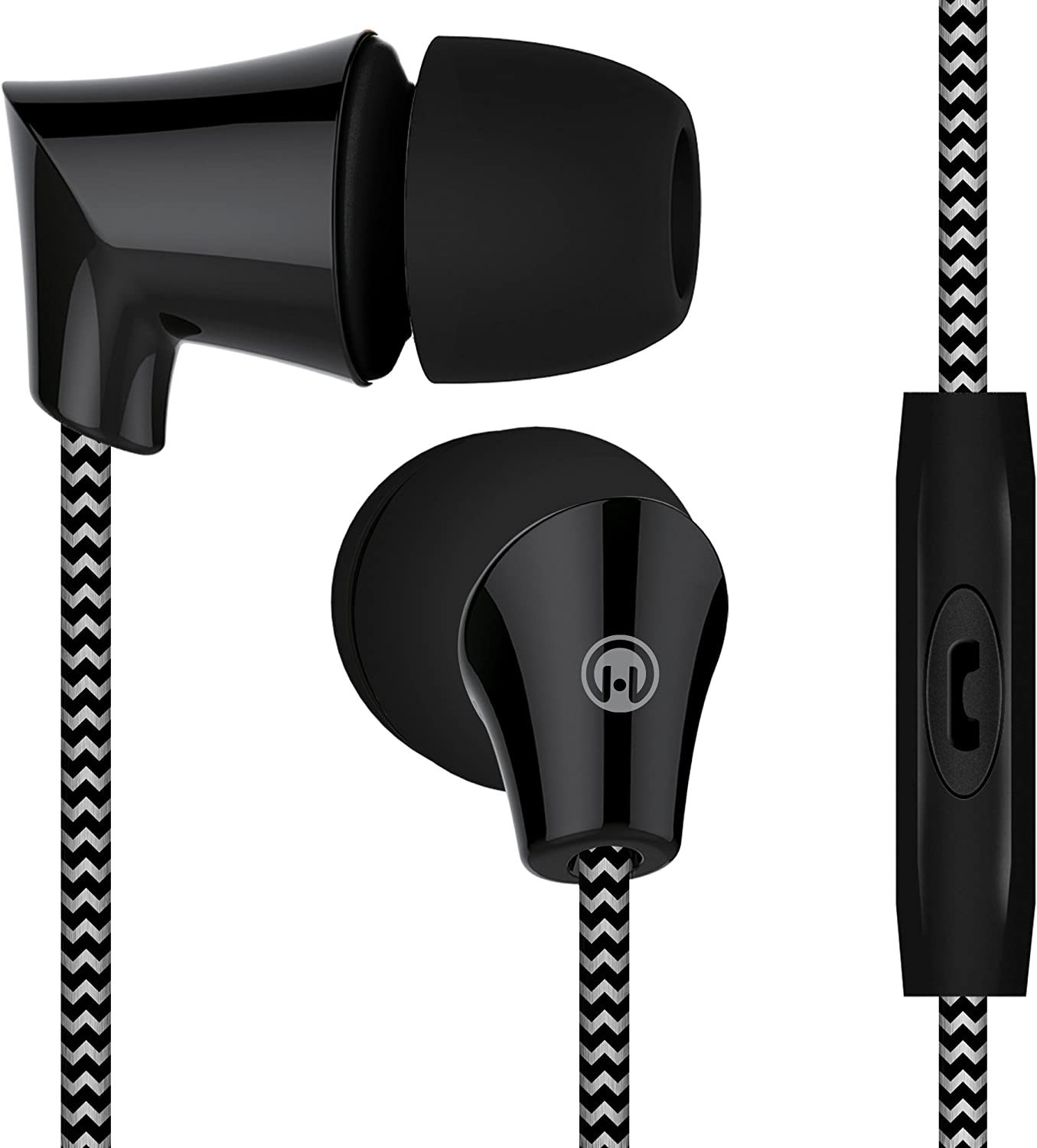 HyperGear Sound Wavez 3.5mm Earphones,in-line Mic/Hands-Free Calls & Music, Blocks Out Noise/Seal in Sound, Tangle-Free Cable & Precision Bass (Black)