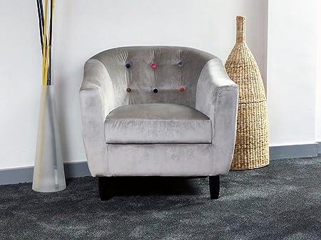 Jayden Tub Chair Tufted Button Back Velvet Grey Fabric Modern Comfy Armchair