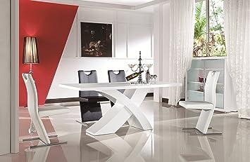 Hochglanz Designertisch Glossy White Wohnzimmer Esstisch Weiss 16090