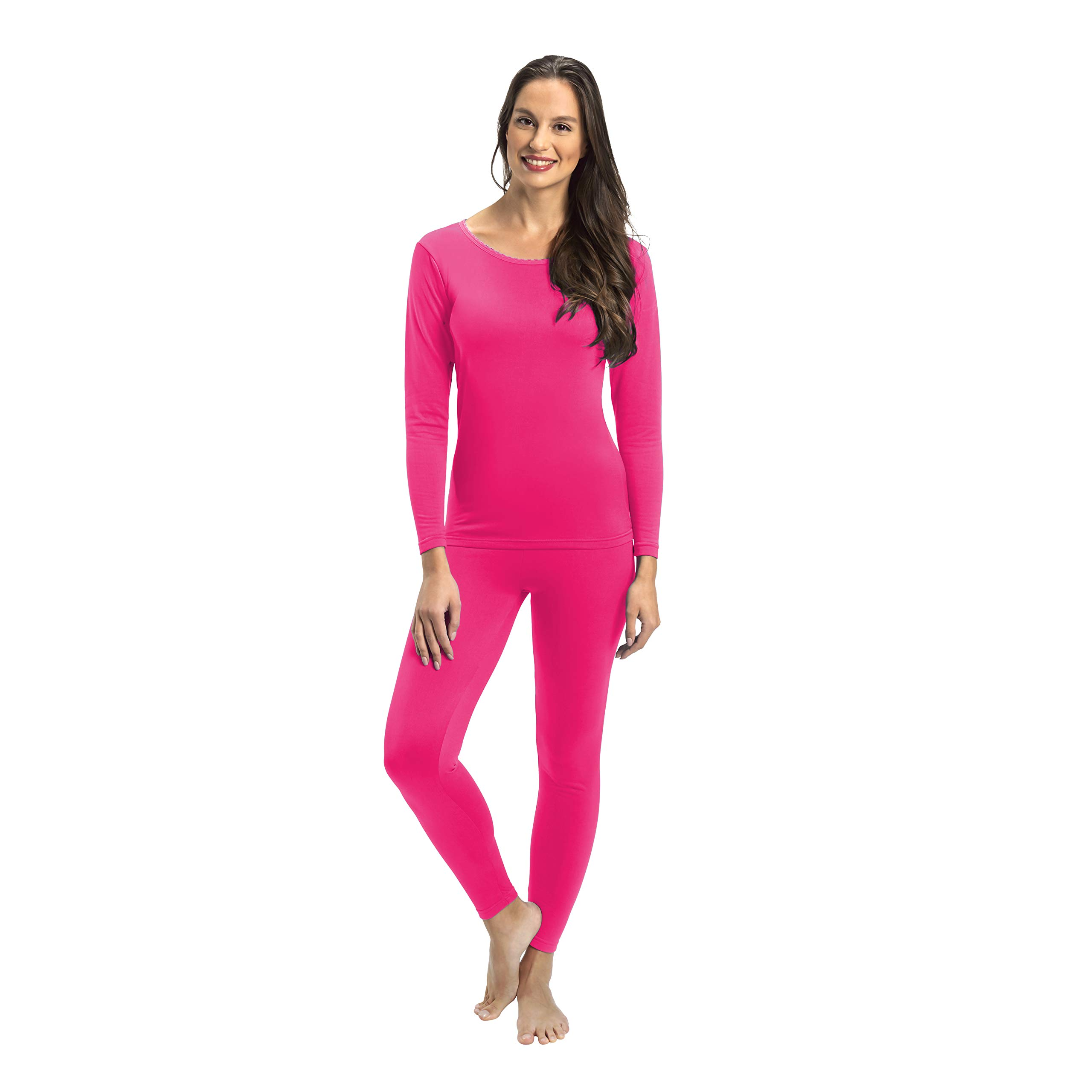 Rocky Womens Thermal 2 Pc Long John Underwear Set Top and Bottom Smooth Knit (2Xlarge, Hot Pink) by Rocky