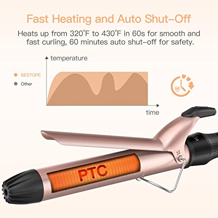 BESTOPE Upgrade Curling Iron 1.25 Inch Ceramic Tourmaline Coating Curling Wand with Anti-Scald Insulated Wand Tip, 4 Heat Setting for All Hair Types 320 F to 430 F, Include Glove