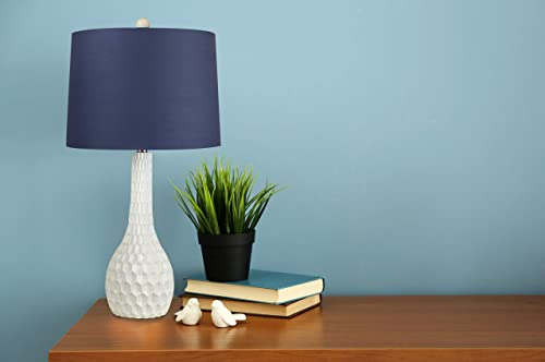 Grandview Gallery 27 Matte Cloud White Dancer Table Lamp w Blue Fabric Shade
