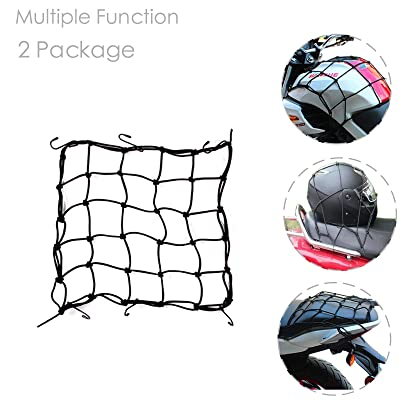 "Dogxiong 2 Package 15"" x15\"" (40x40cm) Motorcycle Cargo Net for Motorcycle Elasticated Bungee Cord Cargo Net Luggage Mesh Bungee Net Storage Tie Down Adjustable with 6 Hook: Automotive [5Bkhe1002364]"