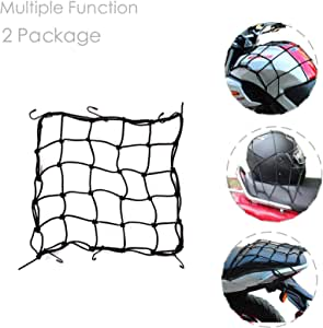 DogXiong 2 Package 15 x15 (40x40cm) Motorcycle Cargo Net for Motorcycle Elasticated Bungee Cord Cargo Net Luggage Mesh Bungee Net Storage Tie Down Adjustable with 6 Hook
