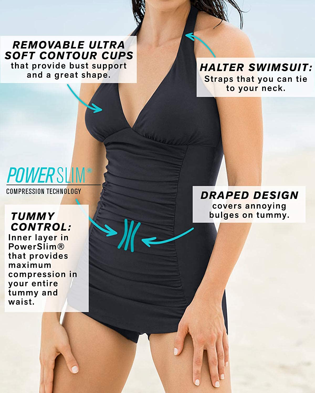 Leonisa One Piece Boyshort Swimsuit with Tummy Control