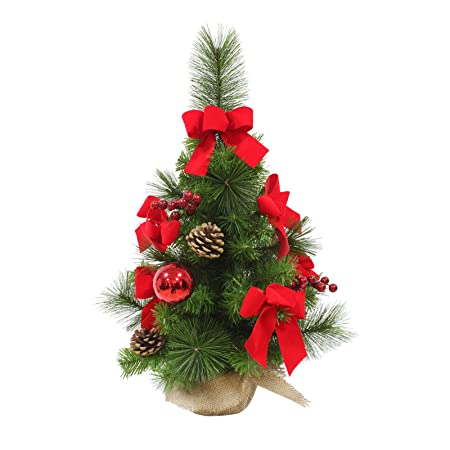 Decorated Artificial Mini Christmas Tree Red Bows 60cm Tall Green ...