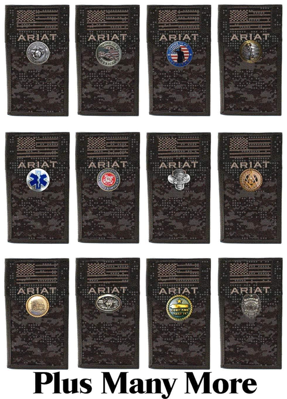 Cross of Life and American Flag Ariat Black Digital Camo long wallet EMS Custom EMT