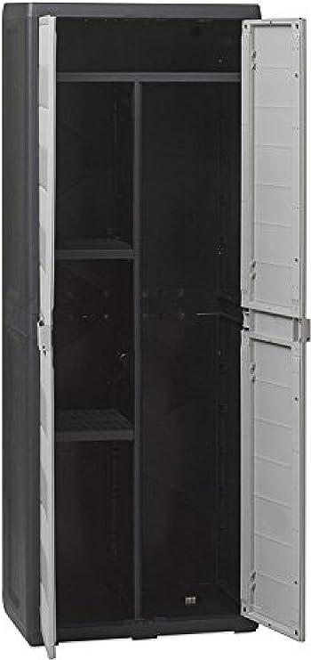 Armario escobero de resina, modelo Elegance, de 65 cm de largo x 38 cm de profundidad x 171 cm de altura, mueble multiuso, para el aire libre: Amazon.es: Hogar
