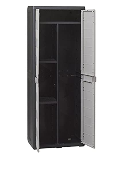 Plastic Cabinet Outdoor Indoor Mod.Elegance Line Broom Black/Grey