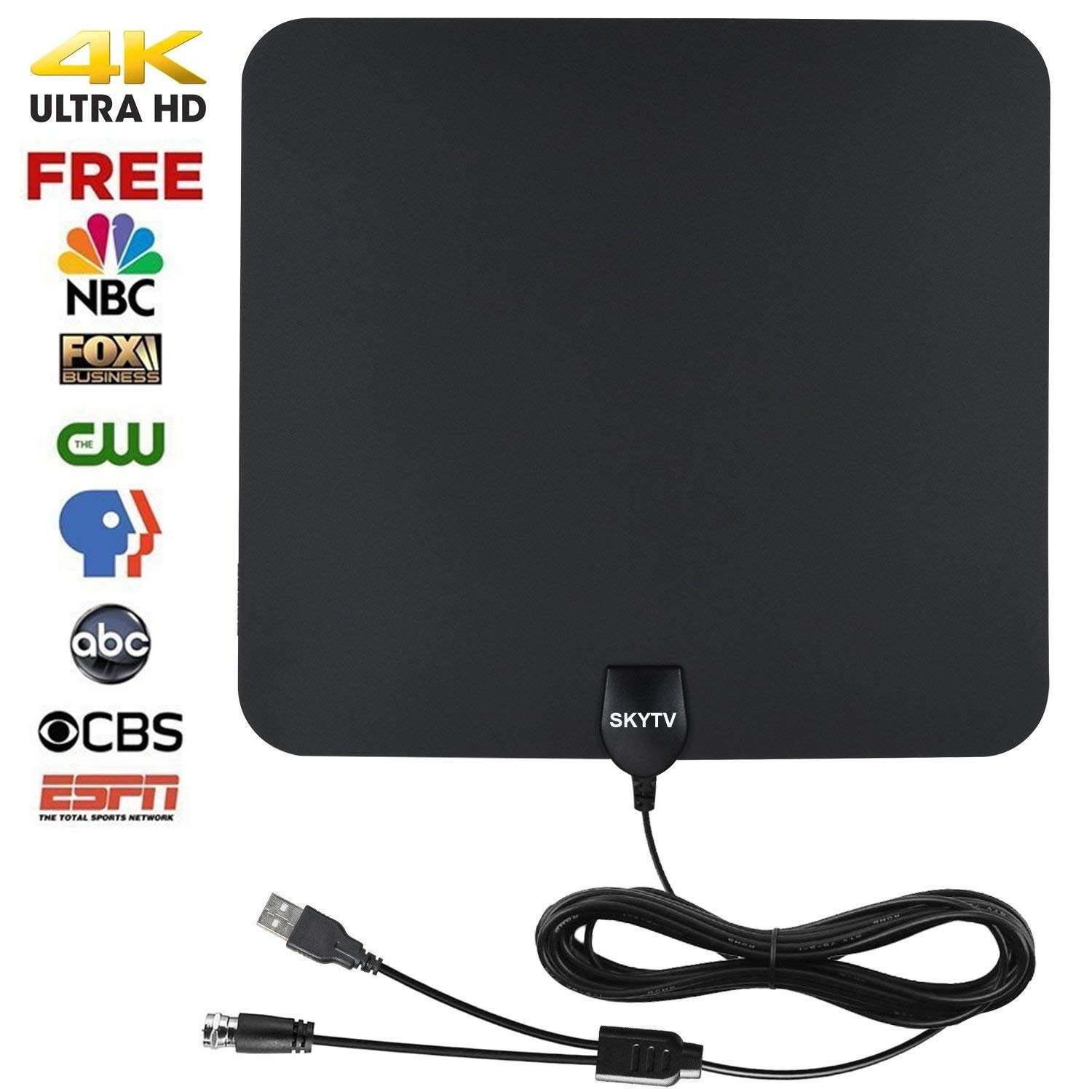 Amplified Hdtv Antenna Skytv 50 Miles Range Digtial Hd Sky Tv Box Wiring Diagrams Antennas With 132ft Long Copper Coaxial Cable Black Electronics