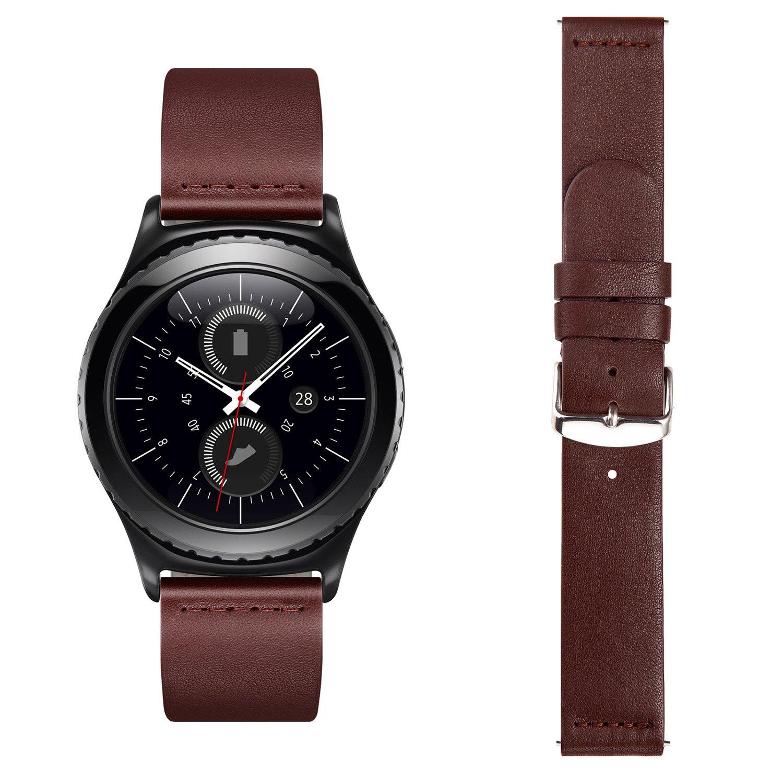 VIMVIP 20mm Genuine Leather Watch Band Strap for Moto 360 2nd Gen 42mm Samsung Gear S2 Classic (Brown)
