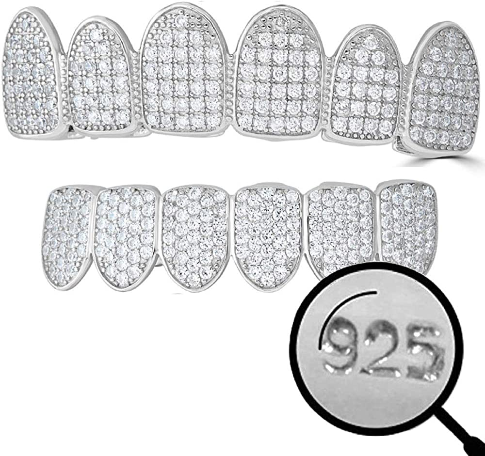 Solid 925 Sterling Silver Real Grillz - Iced CZ - Custom Top & Bottom Grills For Teeth - Real Solid Silver NOT Plated