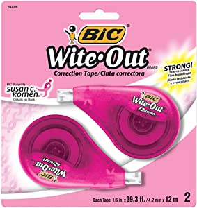 BIC Wite-Out Brand EZ Correct Correction Tape Supporting Susan G. Komen, 2-Count
