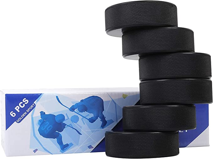 "Golden Sport Ice Hockey Pucks, 6pcs, Official Regulation, for Practicing and Classic Training, Diameter 3"", Thickness 1"", 6oz, Black"