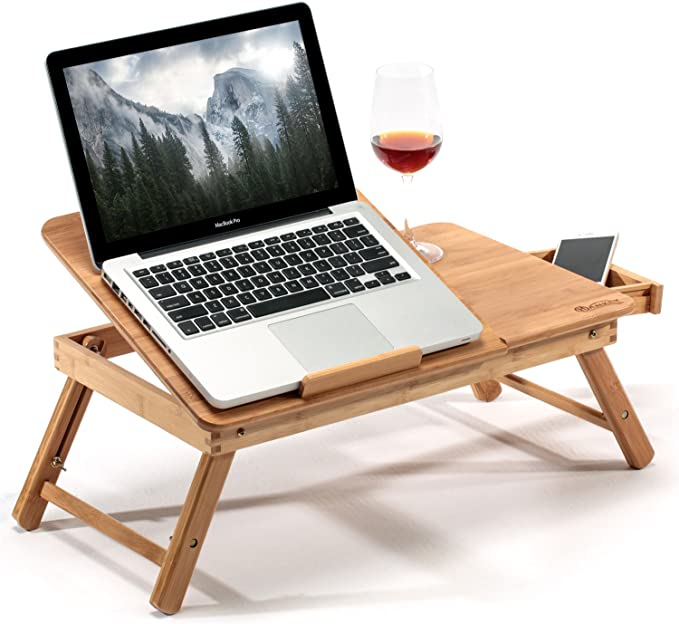 Working with Laptop Portable Foldable Bed Serving Tray Table for Eating Breakfast Bamboo Laptop Desk Adjustable Bed Computer Desk with Drawer Reading Book//Newspaper