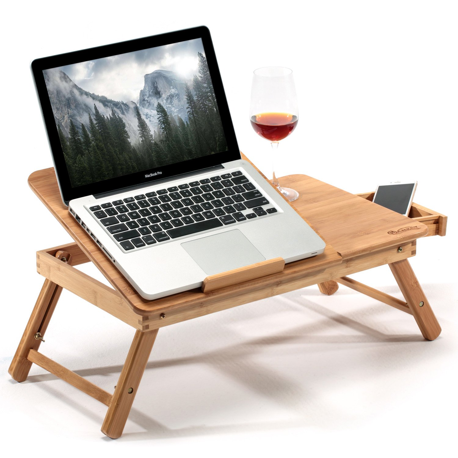 HANKEY Bamboo Large Foldable Laptop Notebook Stand Desk with Height Adjustable Legs Drawer Cup Holder,Bed Table Serving Tray for Eating Breakfast, Reading Book, Watching Movie on iPad