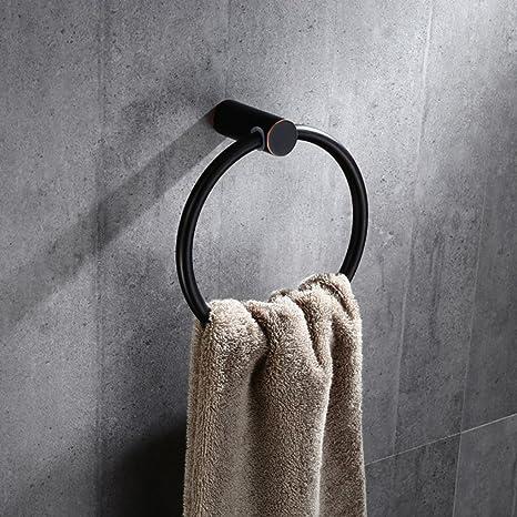 AZHUCHANGJIANG Anillo de Toalla de baño Continental de Cobre Circular Negro Cocina y baño Toallero de