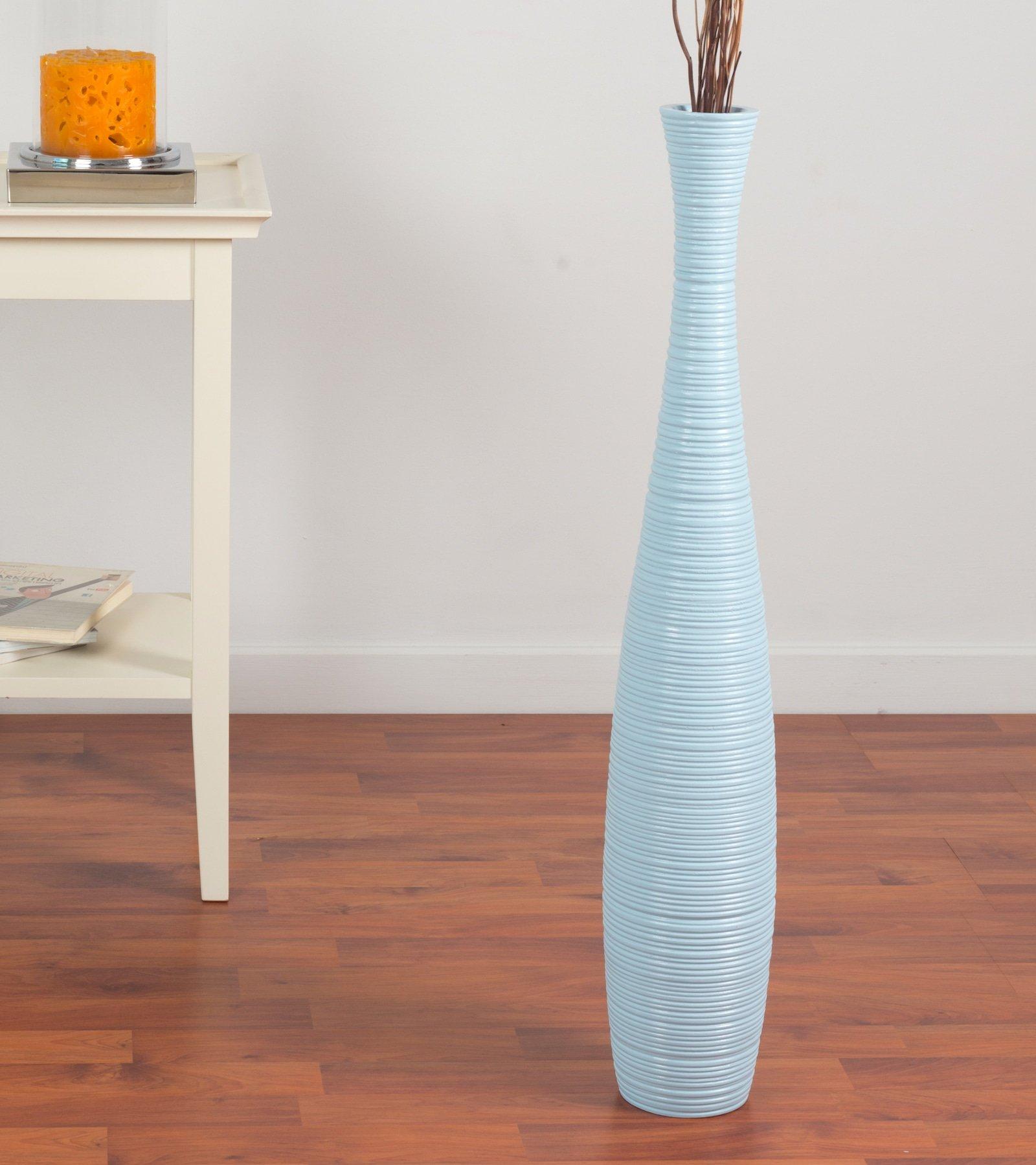Leewadee Tall Floor Vase 30 inches, Wood, Blue