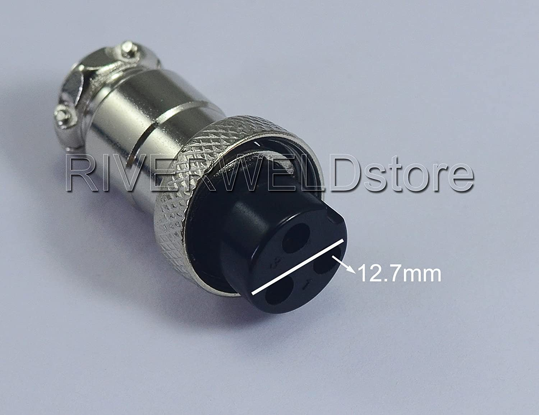 3pin Aviation Socket Air Connector 16-3P Female fit Plasma TIG Welding Torch 2PK
