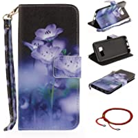 GOCDLJ Samsung Galaxy S8 PU Leather Flip Cover Cell Phone Case Wallet Stand Function with Lanyard Strap Magnetic Holder Cash Pocket Shell Design Blooming Orchids