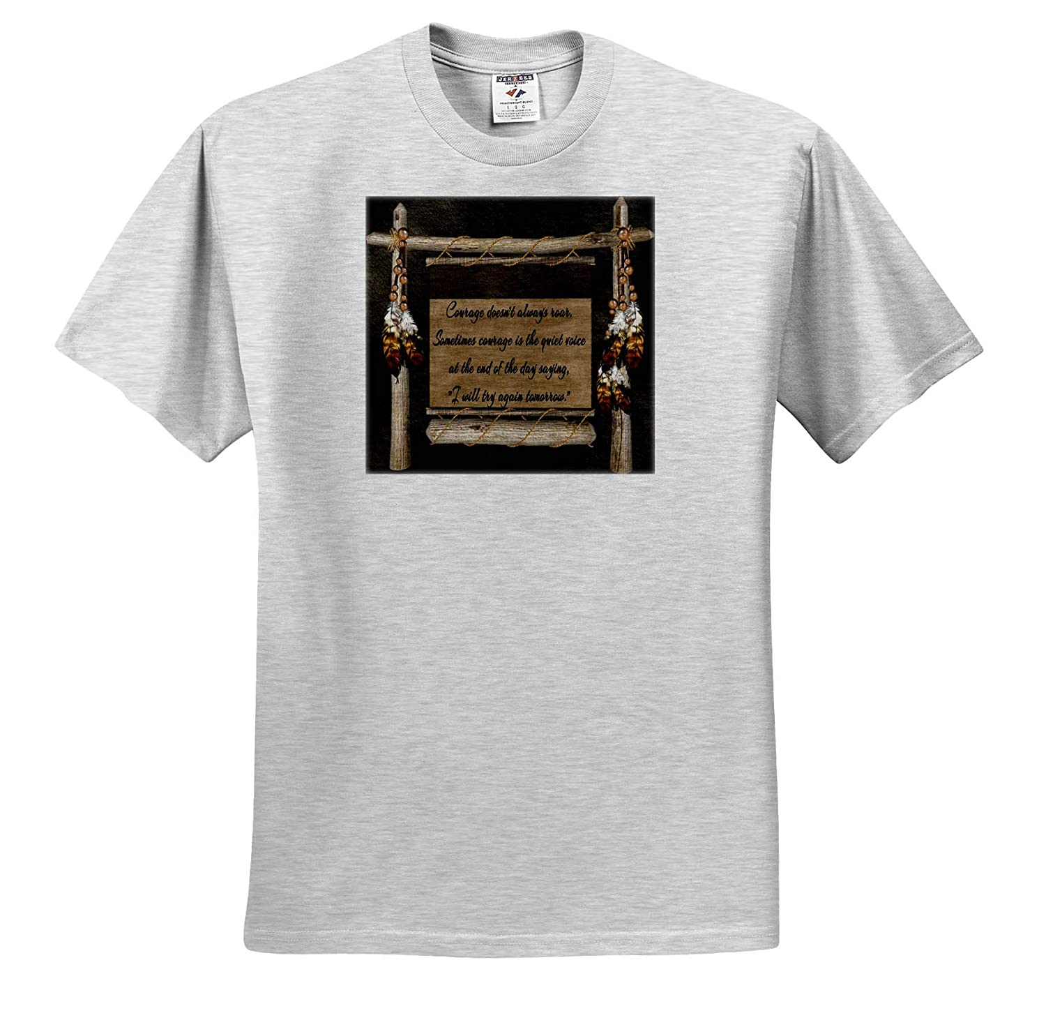 Adult T-Shirt XL Indian Scroll and Motivational Courage Poem 3dRose SpiritualAwakenings Words to Live by ts/_317034