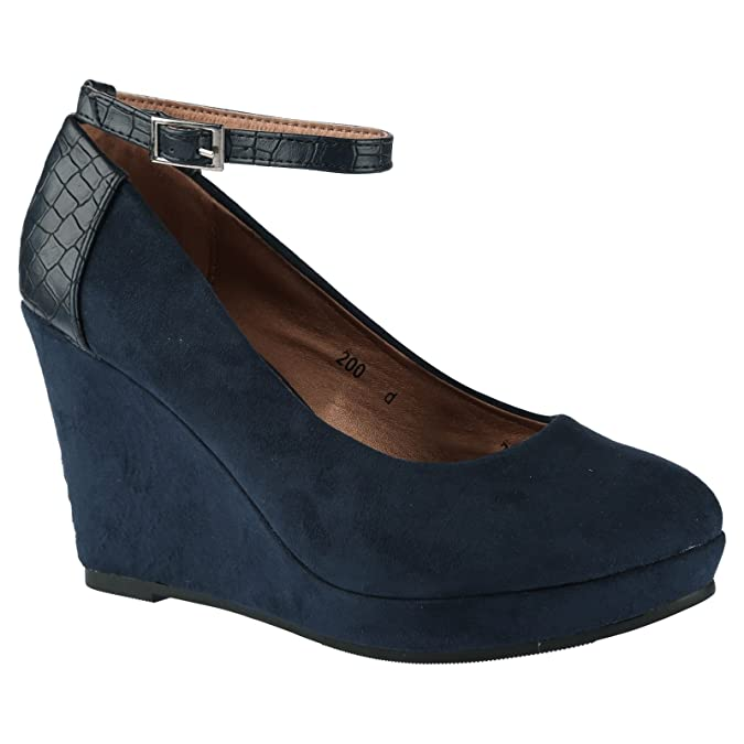 ByPublicDemand Eleanor Womens High Wedge Heel Two Tone Navy Blue Faux Suede  5 UK / 38 EU: Amazon.co.uk: Shoes & Bags