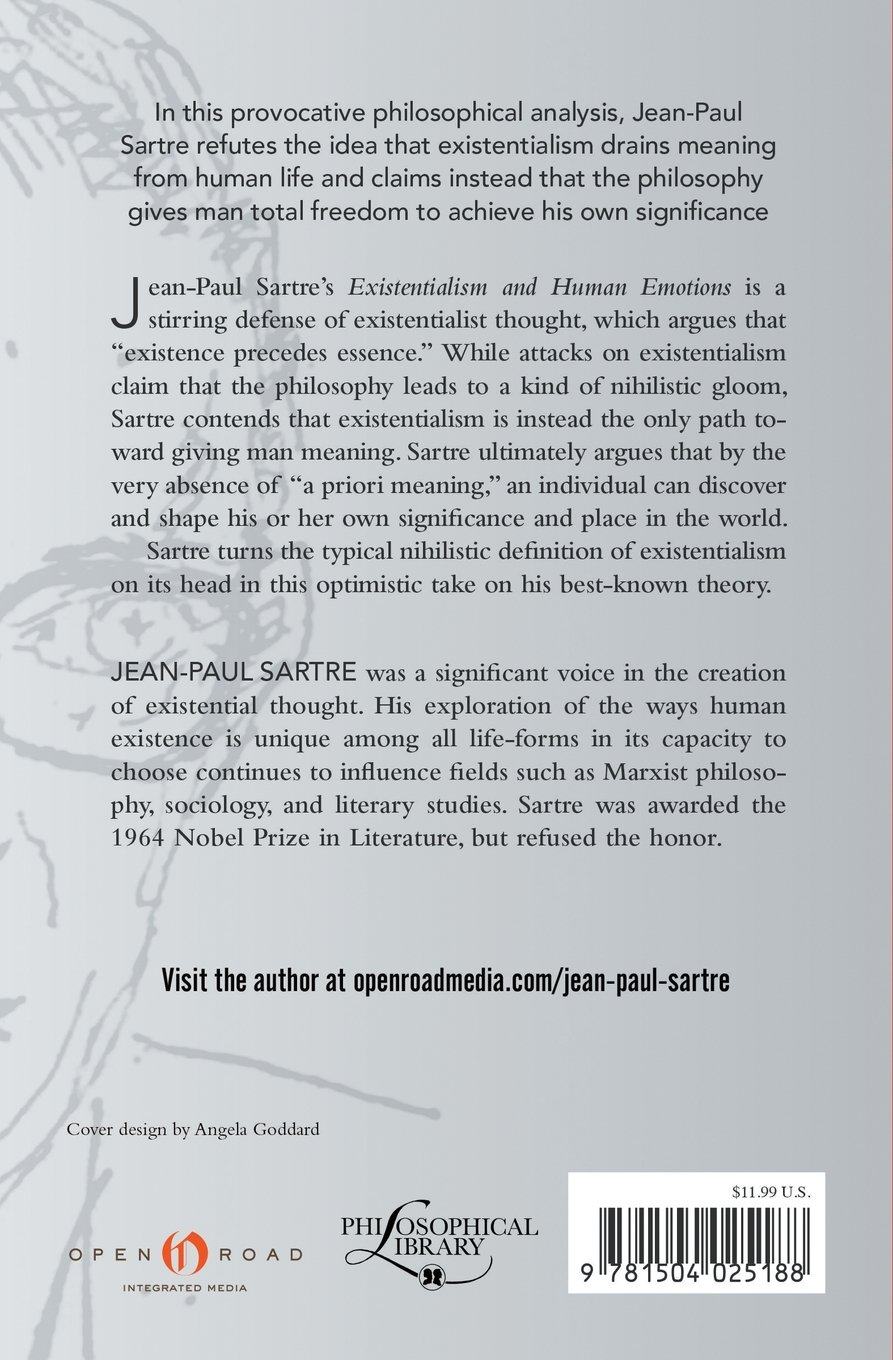 existentialism and human emotions jean paul sartre  existentialism and human emotions jean paul sartre 9781504025188 com books