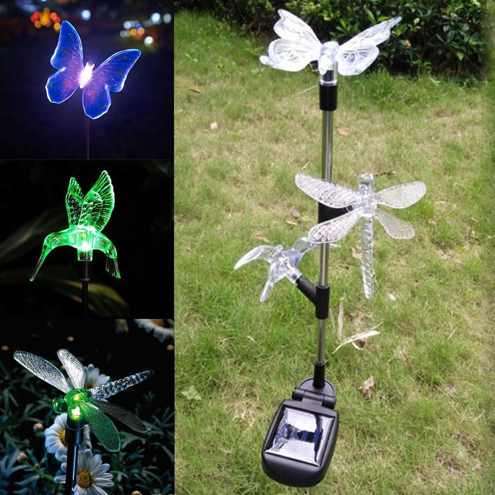 Castnoo Solar Garden Light,Butterfly,Humminbird and Dragonfly Garden Stake Lights.Solar Powered Outdoor Multi-color Led Light for Garden,Backyard