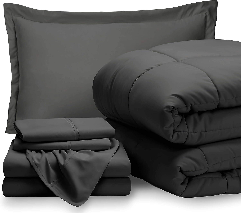 Bare Home Twin XL Sheet Set - 1800 Ultra-Soft Microfiber Bed Sheets (Twin XL, Grey) + Comforter Set - All Season (Twin/Twin XL, Grey)