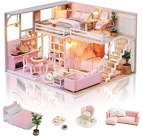 Amazon.es: GuDoQi Miniatura de la Casa de Muñecas con Música, Tienda de Jardín de té Hecha a Mano con Muebles, Kit Modelo Artesanal DIY para Adultos y Coleccionistas para Construir: Juguetes y